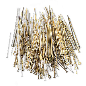 headpin and eyepin mix, pewter (tin-based alloy / pewter (zinc-based alloy) / gold-plated and silver-plated brass, 1/2 to 4 inches, 21-28 gauge. sold per 25-gram pkg, approximately 50-150 pins.