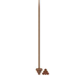 headpin, antique copper-plated pewter (zinc-based alloy), 2 inches with 4x4x4mm triangle, 21 gauge. sold per pkg of 20.