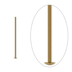 headpin, antique gold-plated brass, 1 inch, 21 gauge. sold per pkg of 100.