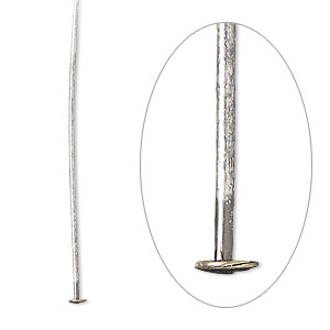 headpin, antique silver-plated brass, 1-1/2 inches, 21 gauge. sold per pkg of 100.