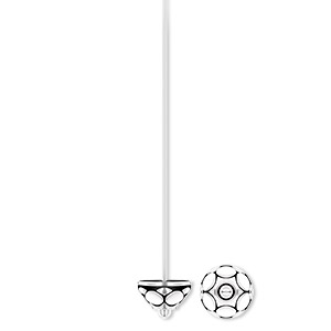 headpin, antique silver-plated pewter (zinc-based alloy), 2 inches with 7x5mm flower, 21 gauge. sold per pkg of 20.
