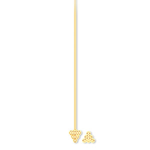 headpin, gold-plated pewter (zinc-based alloy), 2 inches with 4x4x4mm triangle, 21 gauge. sold per pkg of 20.