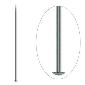 headpin, gunmetal-plated brass, 2 inch, 21 gauge. sold per pkg of 100.