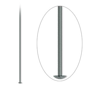 headpin, gunmetal-plated brass, 3 inches, 21 gauge. sold per pkg of 500.