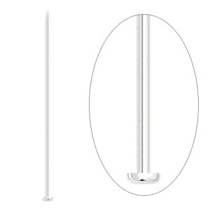 headpin, silver-plated brass, 2-1/2 inches, 21 gauge. sold per pkg of 1,000.