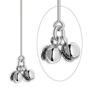 headpin, sterling silver, 2 inches with 2 bells, 21 gauge. sold per pkg 2.