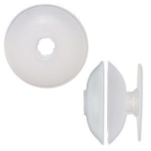 huggy spool, pliable plastic, clear, 3-1/2 inch round with 4/5 inch hole. sold per pkg of 4.