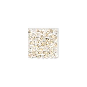 iron-on transfer, swarovski hotfix crystal rocks, crystal golden shadow, 15x15mm square (340348). sold individually.