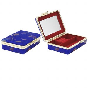 jewelry case, glass / velveteen / rayon / gold-finished steel, blue and red, 4-1/2 x 3 inches with 3-1/2 x 2-inch mirror. sold individually.
