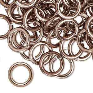 jumpring, anodized aluminum, bronze, 12mm round, 7.9mm inside diameter, 12 gauge. sold per pkg of 100.