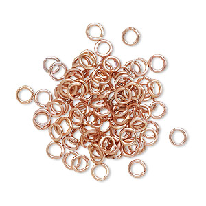 jumpring, anodized aluminum, copper, 4mm round, 2.4mm inside diameter, 20 gauge. sold per pkg of 100.