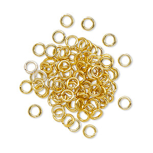 jumpring, anodized aluminum, gold, 4mm round, 2.4mm inside diameter, 20 gauge. sold per pkg of 100.