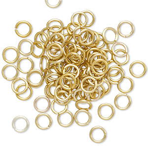 jumpring, anodized aluminum, gold, 5mm matte round, 3.4mm inside diameter, 20 gauge. sold per pkg of 100.