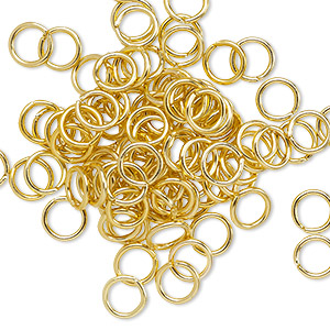 jumpring, anodized aluminum, gold, 6mm round, 4.2mm inside diameter, 18 gauge. sold per pkg of 100.