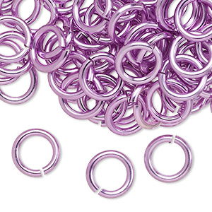 jumpring, anodized aluminum, light purple, 10mm round, 6.8mm inside diameter, 14 gauge. sold per pkg of 100.