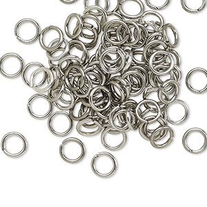 jumpring, anodized aluminum, metallic grey, 5.5mm round, 3.5mm inside diameter, 18 gauge. sold per pkg of 100.