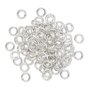 jumpring, anodized aluminum, silver, 4.5mm round, 2.9mm inside diameter, 20 gauge. sold per pkg of 100.