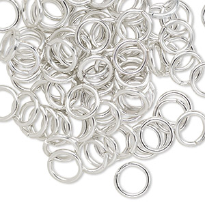 jumpring, anodized aluminum, silver, 8mm round, 5.4mm inside diameter, 16 gauge. sold per pkg of 100.