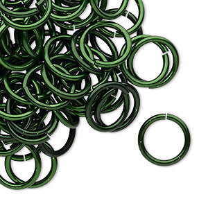 jumpring, anodized tempered aluminum, dark green, 12mm round, 9.2mm inside diameter, 15 gauge. sold per pkg of 100.