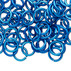 jumpring, anodized tempered aluminum, light blue, 10mm round, 7.2mm inside diameter, 15 gauge. sold per pkg of 100.