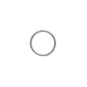 jumpring, antique sterling silver, 14mm soldered twisted round, 12.7mm inside diameter, 20 gauge. sold per pkg of 2.