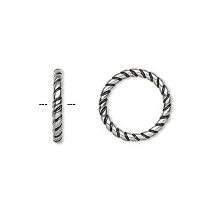 jumpring, antiqued stainless steel, 15.5mm soldered twisted round, 11.5mm inside diameter, 12 gauge. sold per pkg of 2.