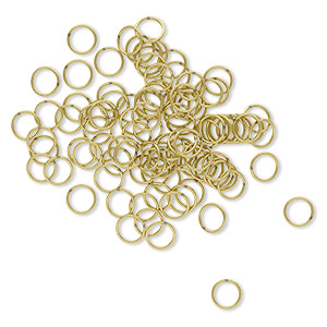 jumpring, brass, 10mm soldered round, 8mm inside diameter, 18 gauge. sold per pkg of 100.