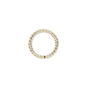 jumpring, gold-plated brass, 15mm twisted round, 11.8mm inside diameter, 14 gauge. sold per pkg of 100.