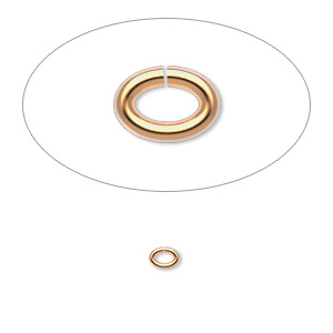 jumpring, gold-plated brass, 4x3mm oval, 2.5x1.5mm inside diameter, 20 gauge. sold per pkg of 100.