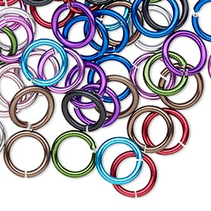 jumpring mix, anodized aluminum, mixed colors, 10mm round, 6.8mm inside diameter, 14 gauge. sold per pkg of 100.