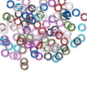 jumpring mix, anodized aluminum, mixed colors, 4mm round, 2.4mm inside diameter, 20 gauge. sold per pkg of 100.
