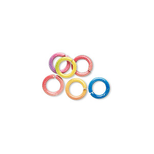 jumpring mix, painted steel, mixed colors, 6mm round, 4.2mm inside diameter, 18 gauge. sold per pkg of 6.