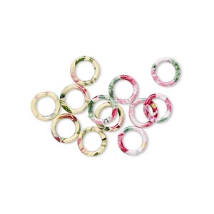 jumpring mix, painted steel, multicolored, 6mm round with flower pattern, 4.2mm inside diameter, 18 gauge. sold per pkg of 12.