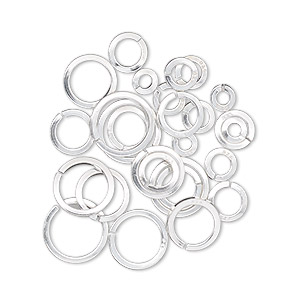 jumpring mix, sterling silver, 4-10mm round square wire,  1.9mm-7.7mm inside diameter, 18 gauge. sold per 5-gram pkg, approximately 25 jumprings.