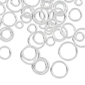 jumpring mix, sterling silver-filled, 4-10mm soldered round, 3.3-8.4mm inside diameter, 20 gauge. sold per 5-gram pkg, approximately 50-55 jumprings.