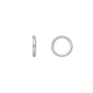 jumpring, sterling silver, 10mm textured soldered round, 8mm inside diameter, 18 gauge. sold per pkg of 10.