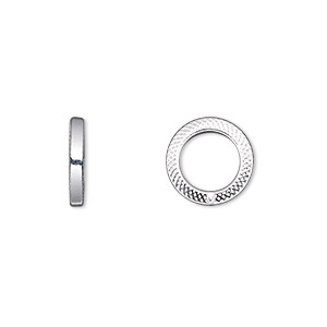 jumpring, sterling silver, 12mm textured soldered round square wire, 7.9mm inside diameter, 13 gauge. sold per pkg of 2.