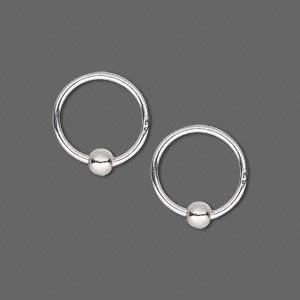 jumpring, sterling silver, 14mm round with 4mm ball, 12mm inside diameter, 16 gauge. sold per pkg of 2.