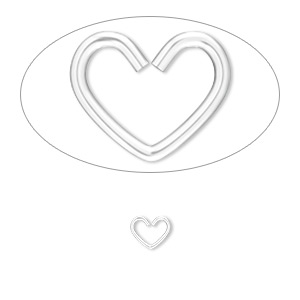 jumpring, sterling silver, 6x5mm heart, 3.8x3.2mm inside diameter, 22 gauge. sold per pkg of 25.