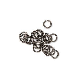 jumpring, unanodized niobium, natural grey, 5mm round, 3.4mm inside diameter, 20 gauge. sold per pkg of 25.