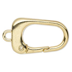 key ring, gold-finished pewter (zinc-based alloy), 38x24mm trapezoid. sold per pkg of 2.