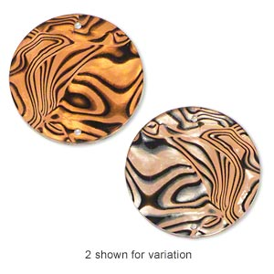 link, acrylic, orange and black, 30mm single-sided flat round with paua shell pattern. sold per pkg of 10.