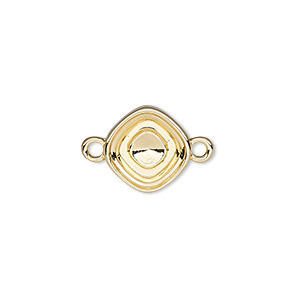 link, almost instant jewelry, gold-plated pewter (zinc-based alloy), 13mm diamond with 10mm square setting. sold per pkg of 2.