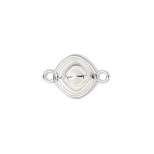 link, almost instant jewelry, silver-plated pewter (zinc-based alloy), 13mm diamond with 10mm square setting. sold per pkg of 2.