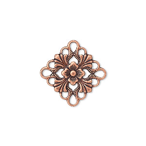 link, antique copper-plated brass, 20x20mm single-sided diamond. sold per pkg of 48.