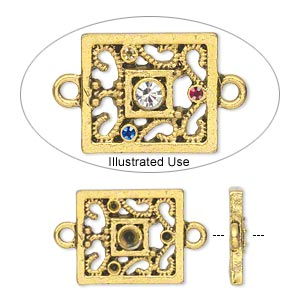 link, antique gold-finished pewter (zinc-based alloy), 17x15mm single-sided fancy rectangle with (3) pp12 and (1) pp24 settings. sold per pkg of 20.