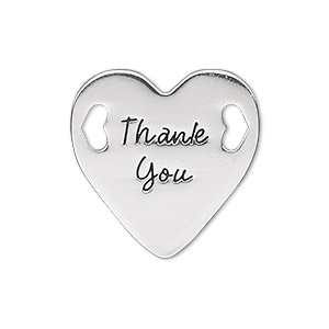 link, antique silver-finished pewter (zinc-based alloy), 25.5mm single-sided flat heart with thank you. sold individually.
