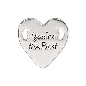link, antique silver-finished pewter (zinc-based alloy), 25.5mm single-sided flat heart with youre the best. sold individually.