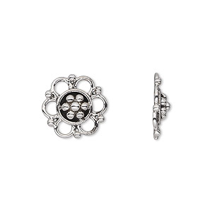 link, antiqued sterling silver, 14x3mm open flat flower. sold per pkg of 2.