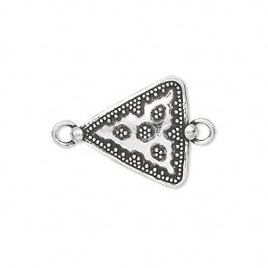link, antiqued sterling silver, 20x20x18mm single-sided beaded triangle. sold individually.